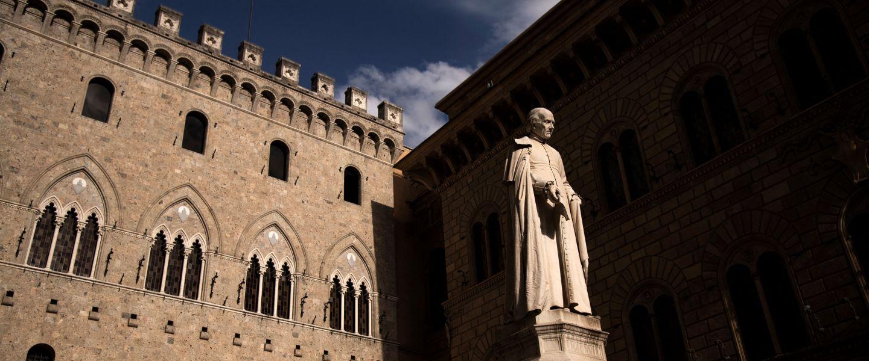 Le siège historique de laMonte dei Paschi, à Sienne, le 8 mars 2019.   Marco Bertorello / AFP