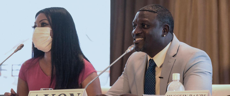 Akonlors d'une conférence de presse, à Dakar, le 31 août 2020. | Seyllou / AFP