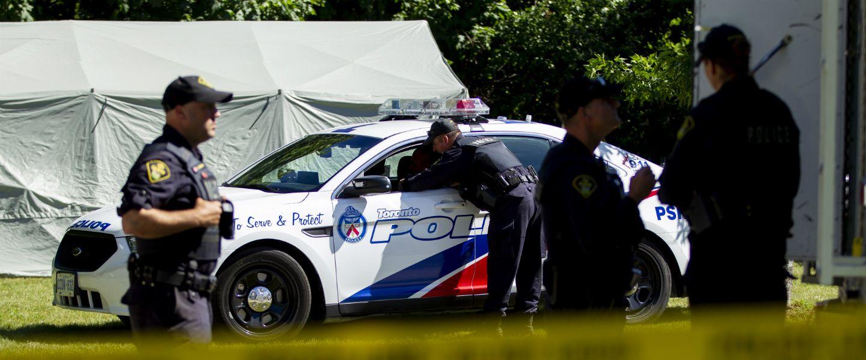 Des policiers de l'Ontario en juillet 2018. | Geoff Robin / AFP